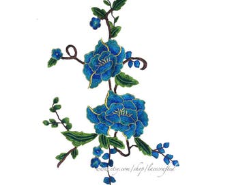 Blue Golden Peony Lace Appliques Embroidery Vintage Shabby Chic Venise Lace Sewing on Patch Trim for Cheongsam Costume Design