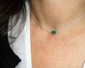 Emerald choker necklace, Sterling silver emerald necklace, Gemstone necklace, Emerald birthstone necklace, May birthstone necklace