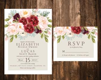 Marsala + Blush Floral Wedding Invitations; Printable OR set of 25