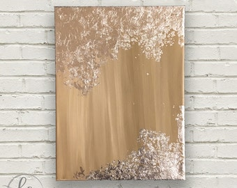 Silver Leaf + Neutral | Abstract Painting | 9x12