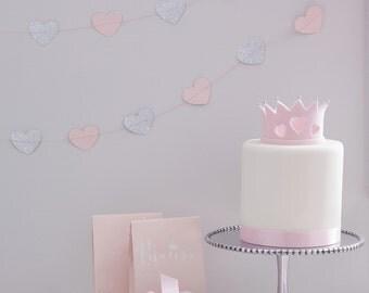 Pink & Silver Glitter Heart Garland, Princess Party, Glitter Heart Garland, Pink Heart Garland, Heart Paper Garland, Pink Party
