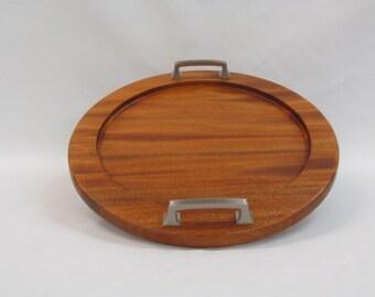Round Wood Tray - Mahogany