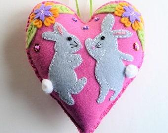 Bunny Rabbit Felt Heart Ornament, Easter Bunny Ornament, Spring Easter Decor, Felt Bunny, Doorknob Hanger, Doorknob Pillow, Dancing Bunny
