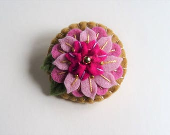 Felt Brooch, Felt Pin, Felt Jewelry, Felt Pendant, Mothers Day Pin, Mothers Day Gift, Contemporary Jewelry, Embroidered Statement Jewelry