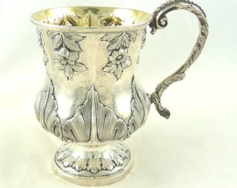 Antique English Sterling Silver Christening Mug Cup William IV Period Christening Gift London 1833 Floral and Acanthus Leaf Detail