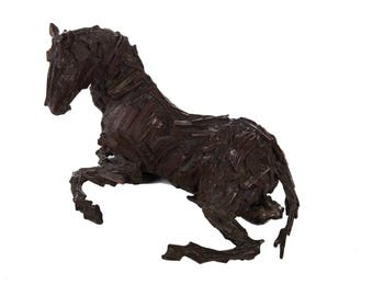Abstract Bronze Sculpture of a Seated Horse - Modernism
