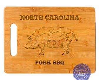 Personalized Butcher Pork Cuts Chopping Board 11.5x8.75 - Custom Engraved BBQ Cutting Board Pig Barbecue - Cuts of Pork Bamboo ChoppingBoard
