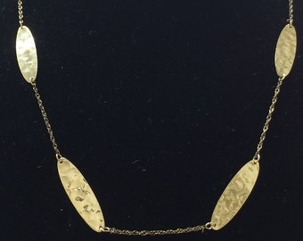 "VINTAGE 14K Yellow Gold 18"" Hammered Gold Station Necklace"