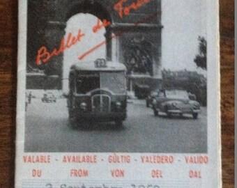 1959 Paris France Bus Ticket - Photo Arc de Triomphe