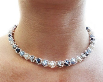 Swarovski pearl chainmaille necklace