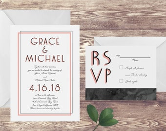 The Coronado Wedding Invitation and RSVP Set, Black and White Wedding Invitation, Elegant Wedding Invite, Black and White Formal Wedding