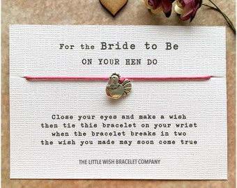 BRIDE to BE on your HEN Party, Weekend, Do, Night Wish Bracelet Gift, Favour, Add a Name & Custom Options