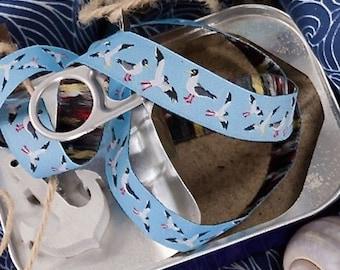 """Ribbon color mix """"Seagulls woven Ribbon"""" light blue"""