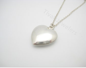 Vintage Tiffany & Co. Sterling Silver Puffed Heart Pendant Necklace