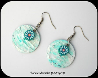 Blue and white earrings, fimo daisy flower, wood cardboard sequin
