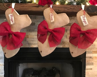 Burlap Stocking- Cat Christmas Stocking