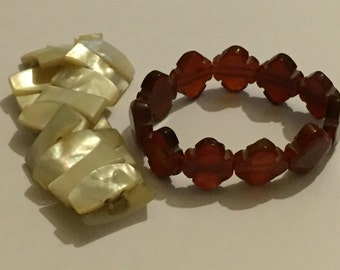 Victorian Carved Carnelian And Mother Of Pearl Stretch Bracelets