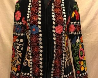Uzbek Velvet jacket kaftan vintage ethnic tribal jacket coat