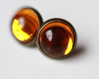 10 mm Stud Earrings, amber