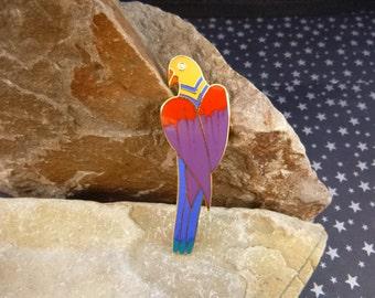 """Laurel Burch """"Cezanne"""" Rainbow Parrot Bird Cloisonné Enamel Brooch Vintage Pin circa l980s"""