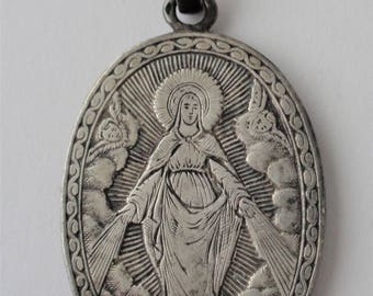 Antique Solid Silver Medal Virgin Mary With Little Angels