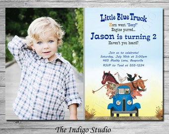 Little Blue Truck Invitation, Option of NO photo Little Blue Truck Birthday invite, all ages - Digital Printable file YOU print