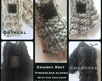 Women and Teen handmade chunky knit acrylic and wool blend fingerless gloves/arm warmers with leather patch
