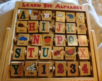 Vintage Stand up Learn the Alphabet Wooden Blocks