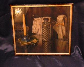 Vintage Original  Signed Water colour And So To bed by F L Brown English Water Colour English Painting Candle Wig matches Gown and Flask