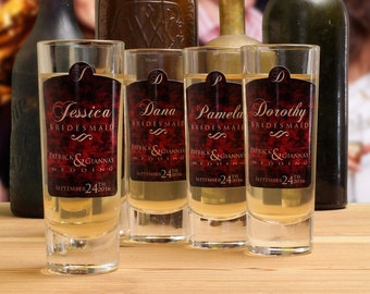 Bridesmaid Gifts // 5 Personalized Shot Glasses for your Bridesmaids or Maid of Honor