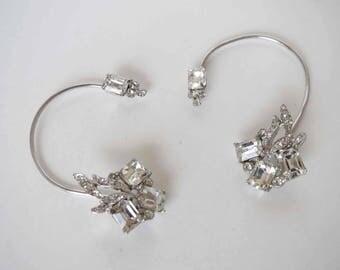 DELIZZA & ELSTER Juliana Ear Wrap Chignon Crystal Clear Rhinestone Earrings