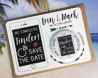 Wedding Save The Date Magnets We Completed Tinder Design (Complete With Matching Backing Postcards)