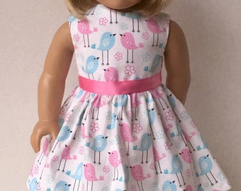 """American Made Girl Doll Clothes Dress Fits 18"""" Doll- Birdie Birdie Birds and Flowers"""