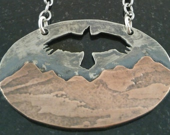 Soaring Hawk Over the Mountains Necklace