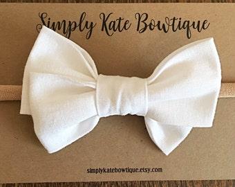 Capri Bow // White Bow, white Baby girl bow, white blessing bow, white christening bow, white baby headband, Baby girl headband