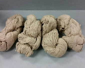 29.1 oz Upcycled Linen and Cotton Yarn Hanks. Repurposed. Light Tan Color Recycled Sweater Yarn.