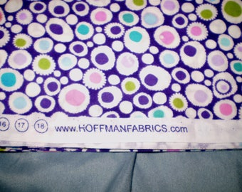 1 yard Summer's End by Hoffman. Multi-colored dots in white circles on purple cotton.