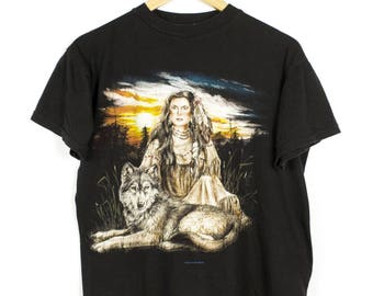 90s native american wolf t shirt - vintage - soft - thin - black