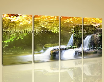 Large Autumn Falls Landscape On Canvas Wall Art Home Decor Four Panels Prints, Large Waterfall Wall Art, Bedroom, Metallic Gold