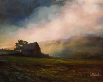 Landscape Art -  Giclée Print of Original Oil Painting - Barn, Farm, Morning, Mantle Piece, For Home, For Him, For Her, Wall Decor