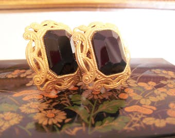 Miriam Haskell Filigree black glass large screw back earrings russian gold plated metal