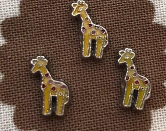 Giraffe floating locket charm