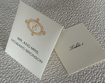 envelope place cards gold frame with initial and machine calligraphy