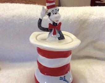 Vintage Cat in The Hat Dr Seuss ceramic cookie jar. Mint. Free ship to US
