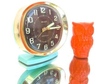 Mid-Century Turquoise Metal Big Ben Deluxe Alarm Clock    Made by Westclox in U.S.A.