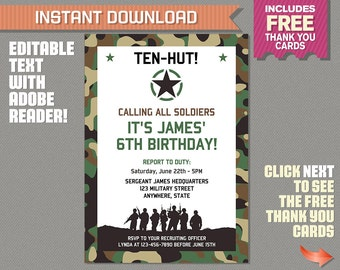 Army Invitation with FREE Thank you Card! Camo Birthday Party - INSTANT DOWNLOAD - Edit and Print at Home with Adobe Reader