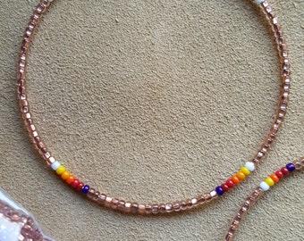 Native American Style sead bead hoops earrings