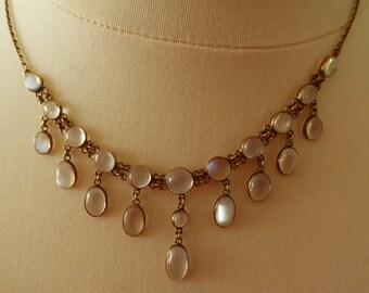 Vintage / Antique 14K Gold Chinese moonstone droplet necklace pendant Japan