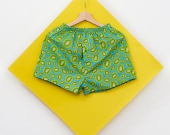 MEN BOXER , SHORTS , Kiwi , Fruit shorts, Fun gift for men , Fruity , Men Underwear , Sleepwear , Cotton , Handmade , Pyjama bottoms , Fun