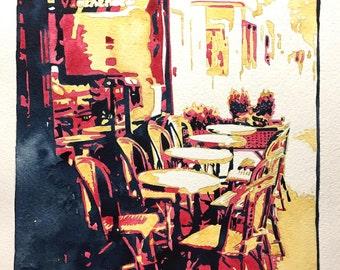 ORIGINAL Watercolor• Café de Paris